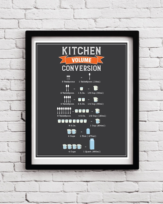 Kitchen Decor Kitchen Conversion Chart Kitchen Baking Gift Etsy