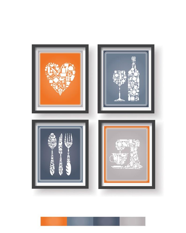 Orange Gray Blue Kitchen Decor 4 Set Kitchen Wall Art Kitchen Decor Prints Kitchen Print Set Kitchen Prints Set Kitchen Wall Decor