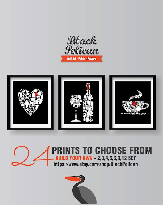 Black Kitchen Decor Wall Art Prints Set Of Etsy