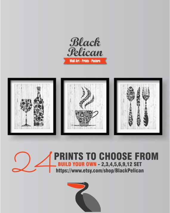 Dark Grey Kitchen Wall Art Prints Set