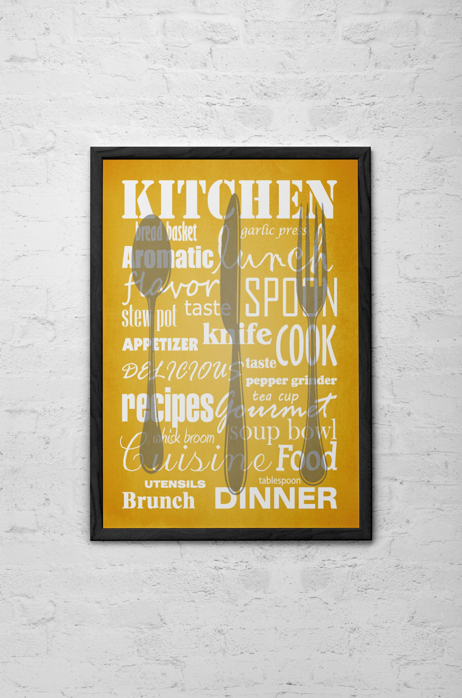 Mustard Yellow Kitchen decor Words Kitchen print Yellow | Etsy