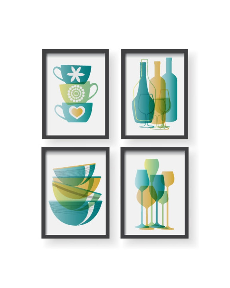 Teal Green Yellow Modern Kitchen Poster Set Kitchen Decor Kitchen Wall Art Kitchen Prints Kitchen Kitchen Poster Home Decor