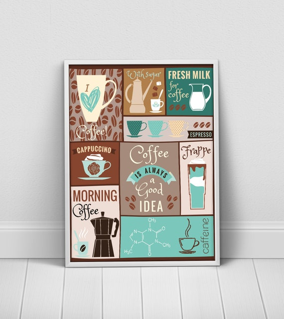 Braun türkis Küche Kaffee Plakat Kaffee Küche Dekor Kaffee