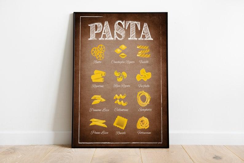 italian pasta kitchen art pasta types kitchen poster italian | etsy