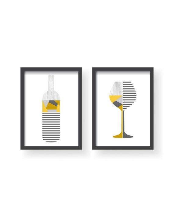 Moderne Weinflasche Cup gelb grau Küche Poster Set gelb grau   Etsy