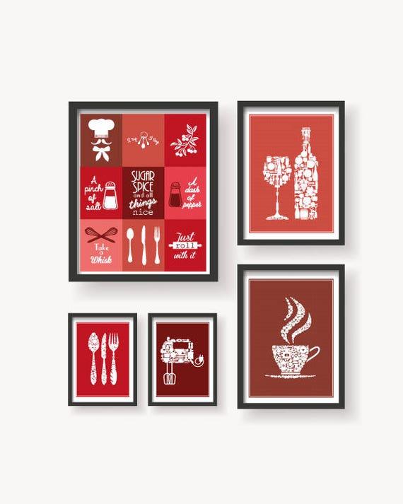 Kitchen Red Variations 5 Set Red Kitchen wall art Kitchen   Etsy