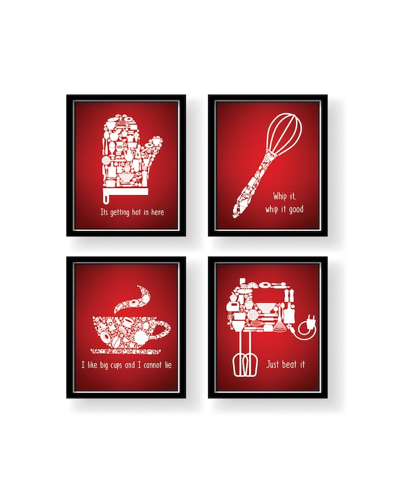 Red White Unique Signs Lovely Kitchen decor Red White kitchen   Etsy