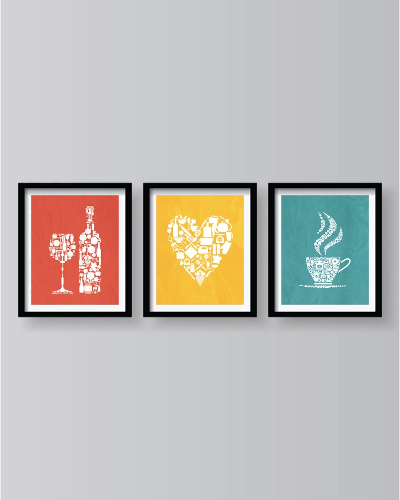 Décoration murale cuisine colorée, art mural cuisine, impressions de  cuisine, décoration murale cuisine, affiche de cuisine, impressions de  cuisine ...