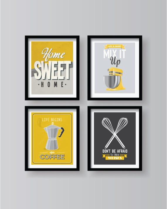 Grau Weiß Gelb Poster Set Für Haus Küche Dekor Sammlung | Etsy
