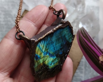 VIVID Labradorite Pendant. Natural Labradorite Necklace. Rugged Crystal Pendant.