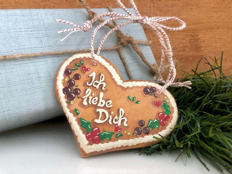 German Christmas Ich Liebe Dich Gingerbread Heart Ornament