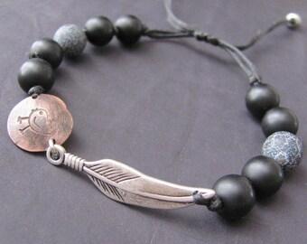 Mens Beaded Bracelet, Mens Cuff Bracelet, Mens Bracelet, Mens Jewelry Bracelet, Bracelet For Men, Feather Bracelet, Gift for Men