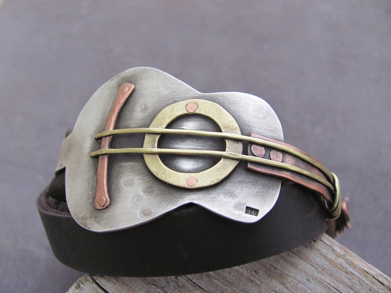Guitar Bracelet  Sterling Silver Guitar Bracelet  Music Bracelet  Guitar Jewelry  Guitar Leather Bracelet   Guitar Gifts for Men  Music Gift