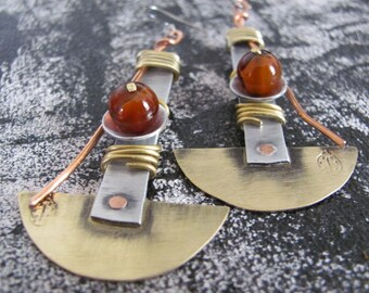 Mixed Metal Earrings, Brass  Earrings, Metalwork Earrings, Hammered Earrings, Modern Earrings, Geometric Earrings, Rustic Metal Earrings