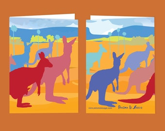 Kangaroo Party Blank Greeting Card Free Shipping Australia Wide.