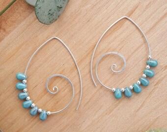 Spiral Earrings // Turquoise Earrings // Statement Earrings // Spiral Hoop Earrings // Sterling Silver // Big Earrings // Statement Jewelry