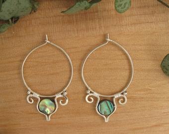 Abalone Earrings // Abalone Shell Earrings // Paua Shell Earrings // Paua Shell Jewelry // Silver Hoop Earrings // Handmade Jewellery