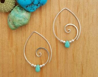 Spiral Earrings // Turquoise Earrings // Spiral Jewellery // Spiral Hoops // Hoop Earrings // Sterling Silver // Handmade