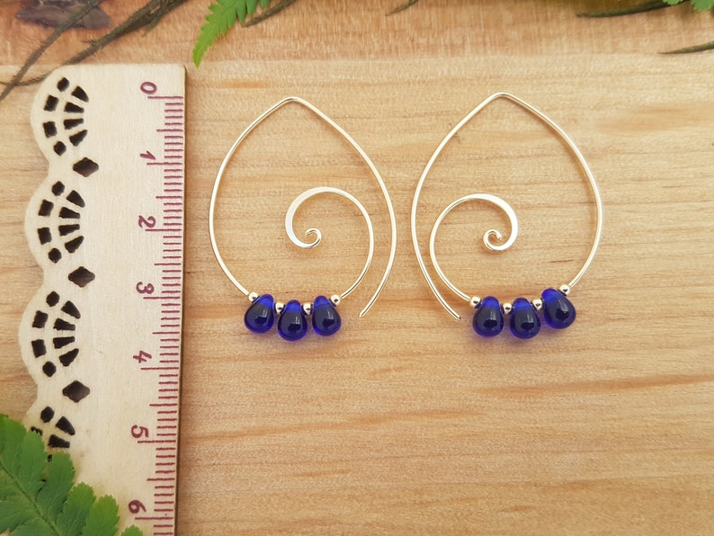 Gold Spiral Earrings with Cobalt Blue Glass Teardrop beads Cheeky Danglers Spiral Jewellery Handcrafted Earrings Spiral Hoop Earrings