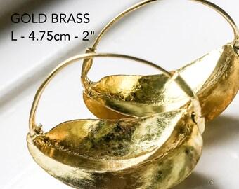 Gold Brass Earrings / Fulani Tribal Earrings / Gold Hoop Earrings / Ethnic Earrings / African Jewellery / Mali Earrings / ethical Jewellery