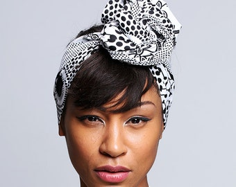 Black and White Print head wrap   Wax print Head wrap   Ankara Print headscarf   African wax print material   Print Head Scarf   Print 15