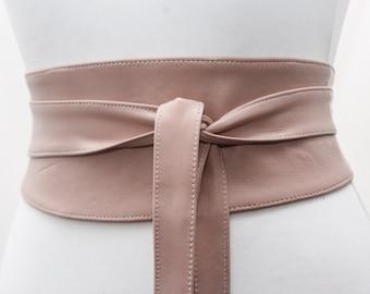 8e32b8456ff Nude Leather Obi Belt