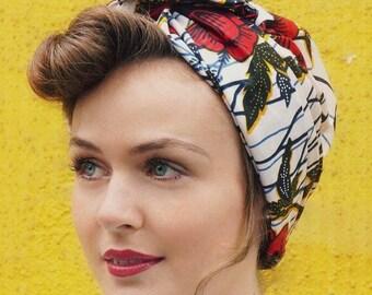 African Flower Print head wrap   Turban Wax print Head wrap   Ankara Print headscarf   African wax print m   Turban Scarf   hair loss scarf
