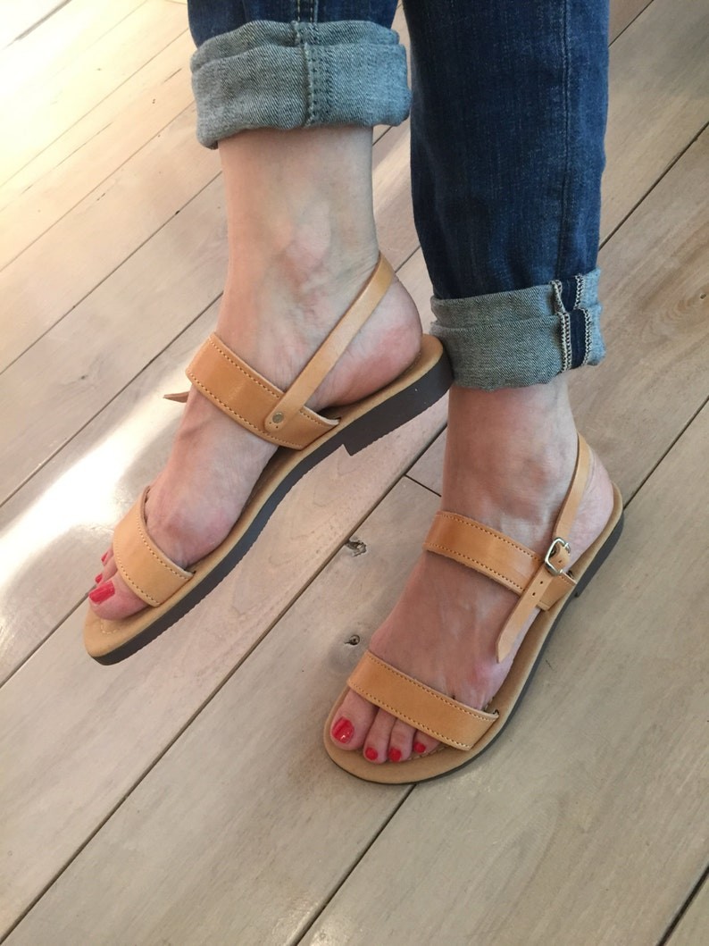 0301e69f79b76 Tan sandals for women.FREE SHIPPING in the USA, Greek leather sandals.  Handmade with comfortable cushion insole, Natural leather - Elpida