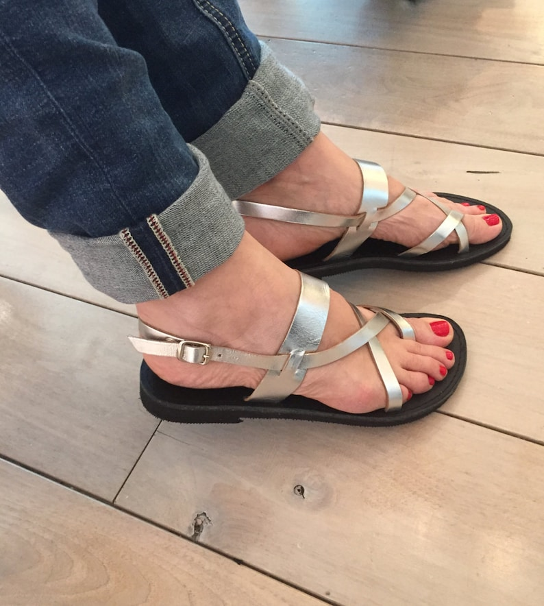 aa706c22bc9ab Silver Greek leather sandals.FREE SHIPPING in the USA, Handmade Gladiator  sandals,strap sandals - Iphigenia