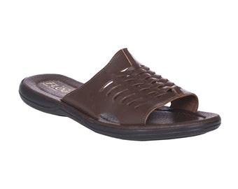 Flip flop leather sandals. Greek leather sandal for Men.FREE SHIPPING in the USA, Dark brown slides - Adonis