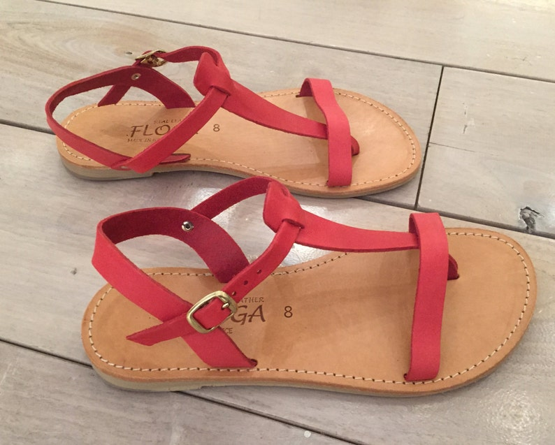 86af554baedb0 Greek leather sandals for Women,FREE SHIPPING in the USA,Ankle strap flat  sandals,Handmade leather sandals,women's,flat red, - Panagiota