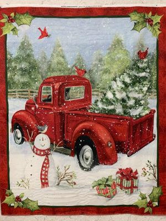 Susan Winget Red Holiday Pickup Truck Fabric Panel