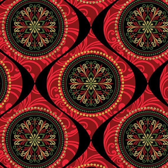 Kanvas Holiday Fabric Joyful  Medallion 8281M