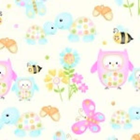 Baby Woodland Critters Owls, Nursery Bears Bees Henry Glass Fabric 9975