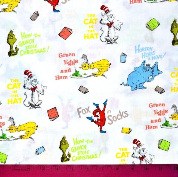 "Robert Kaufman Dr Seuss Fabric ""Celebrate Seuss"" DISCONTINUED"