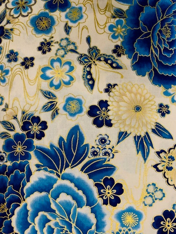 RK Imperial Indigo Metallic Blue Large Cream Background Floral Fabric
