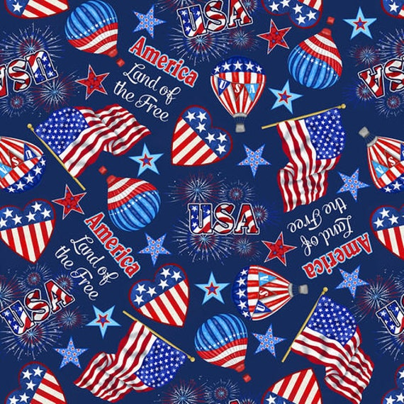 Studio E Fabrics America Home of the Brave Tossed Flags & Balloons