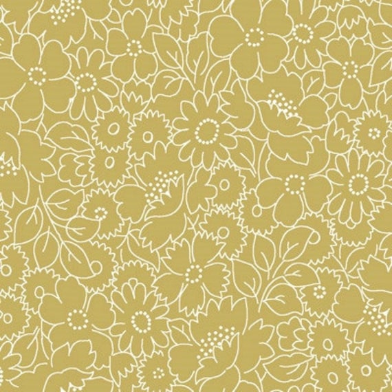 Studio E Fabrics Cream & Sugar III Ecru on Ecru Flower Design Fabric  203