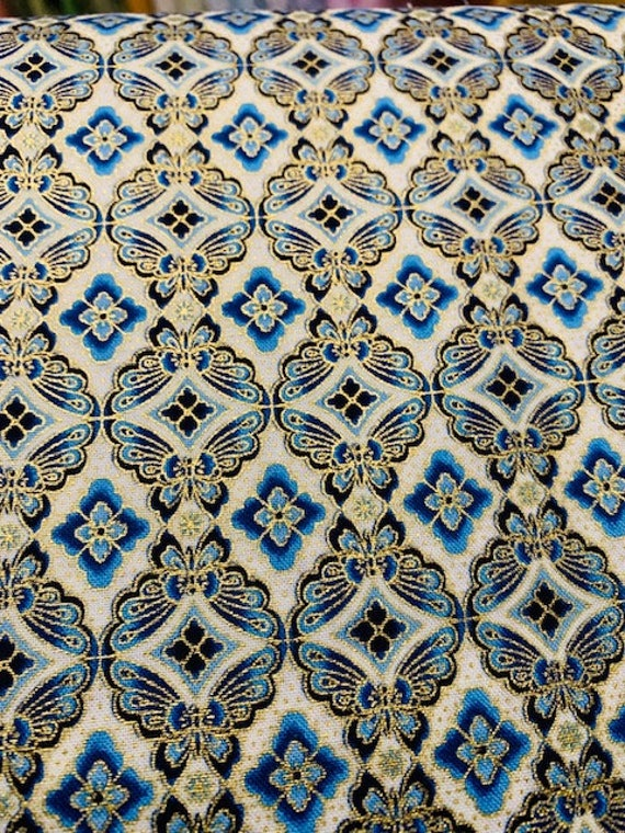 RK Imperial Indigo Metallic Tile Fabric