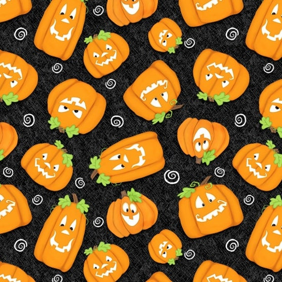 Chills and Thrills Pumpkins Fabric By Henry Glass & Co.