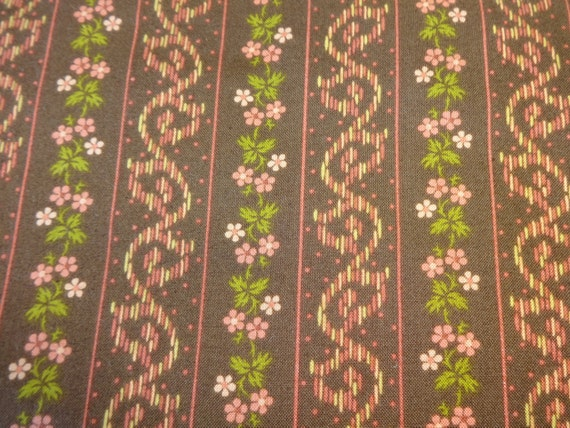 Brown w/Pink Flower Fabric 398