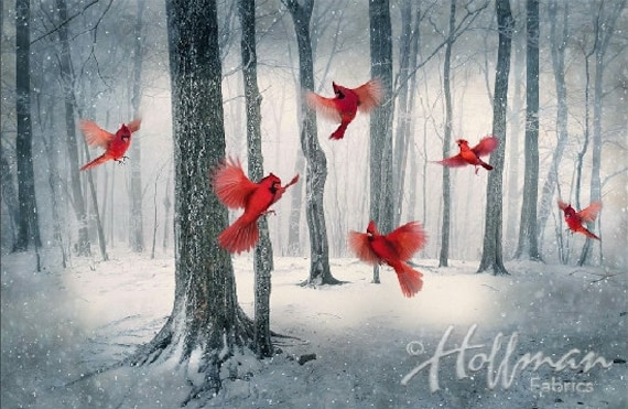 Hoffman Fabric Call of the Wild Cardinal panel & collection.
