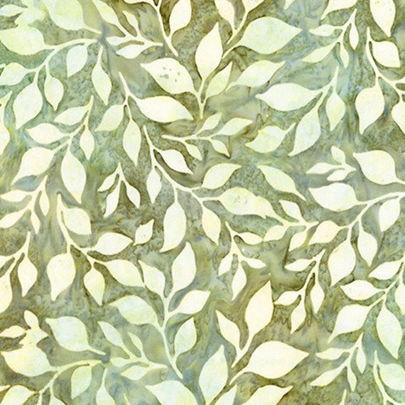 Robert Kaufman  Batiks Summer Flowers  Leaf Fabric