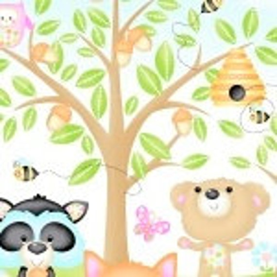 Baby Woodland Critters Owls, Bear Fabric 9970P