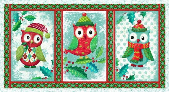 SPX Fabrics Owl be Home for Christmas Panel Fabric 547 Christmas Owls