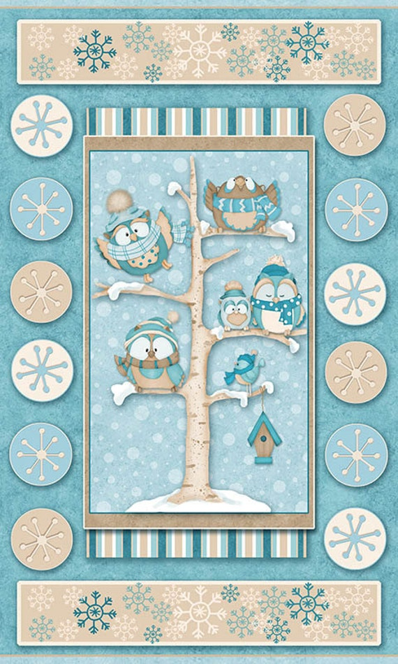 Owl  Fabric Flannel Henry Glass & Co Wise One Coordinates Panel 708
