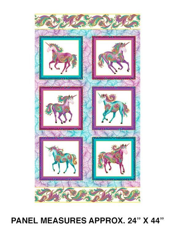 Benartex Believe in Unicorns Metallic Fabric Collection