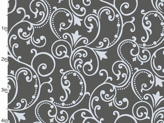 Studio E Fabrics 'Pearle' Fabric w/Metallic Silver Scroll Pattern