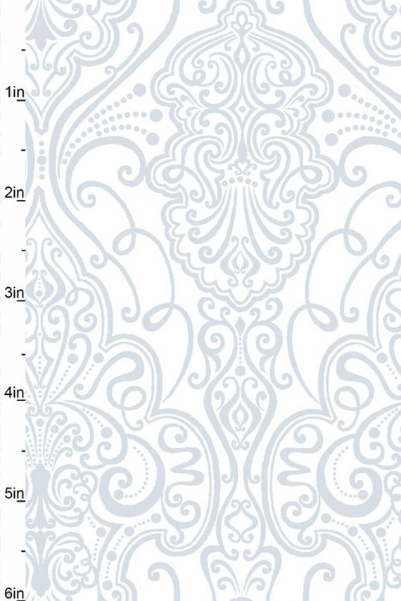 Scroll Studio E Fabrics 'Pearle' Fabric w/Metallic Silver 'Royal' Pattern