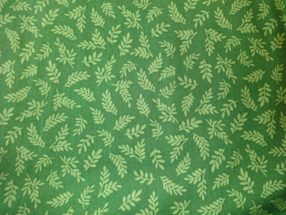 Quilting Treasures Dark Green w/Light Green Leaves Fabric  113
